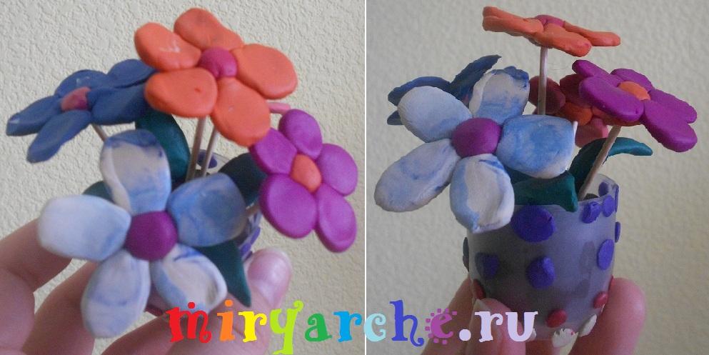 цветы из пластилина 2