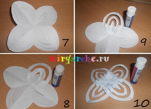 как сделать объёмную снежинку из бумаги своими руками
