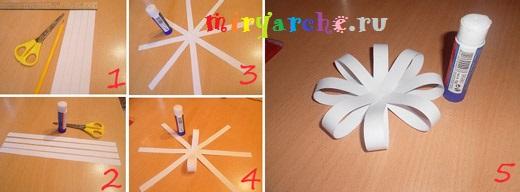 как сделать цветок из полосок бумаги
