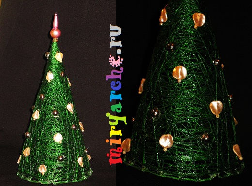 мастер класс новогодняя елка из ниток