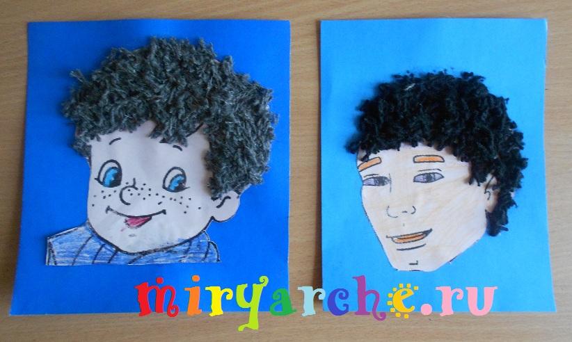 Детская Аппликация из ниток Портрет мальчика