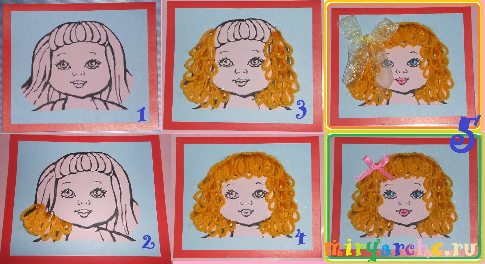 Аппликация из ниток портрет девочки