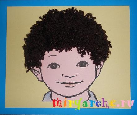 Аппликация из ниток Портрет мальчика
