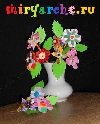 цветы из пуговиц и бусин своими руками