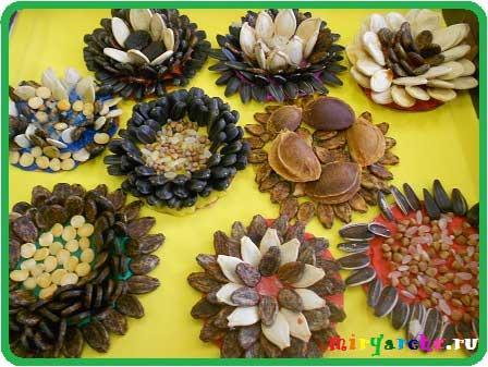 Поделки на крышке из пластилина и семян