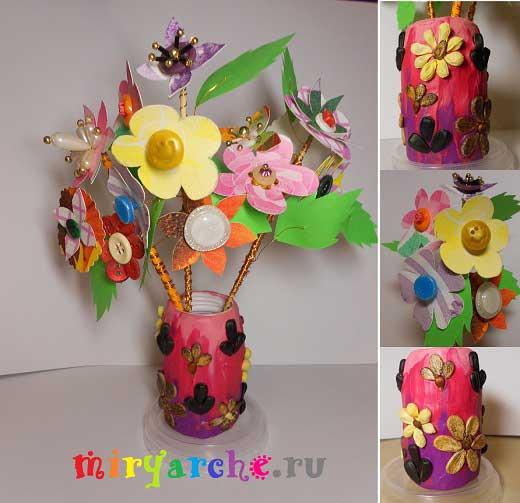 ваза из пластилина и семян