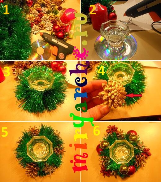 как сделать красивый новогодний подсвечник своими руками
