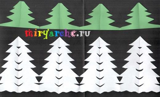 Вырезание из бумаги деревья