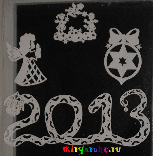 украшение окон своими руками из бумаги на новый год