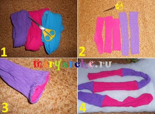 как шить игрушки из носков или детских колготок