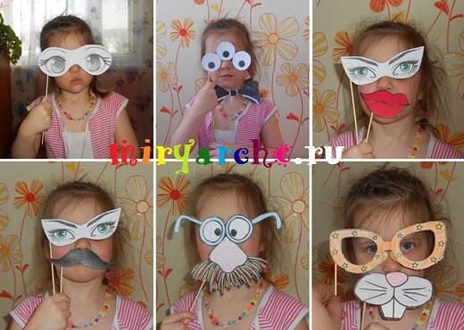 карнавальные маски на палочках для праздника 1 апреля розыгрыш