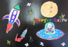 детские поделки на тему космос из бумаги и пластилина
