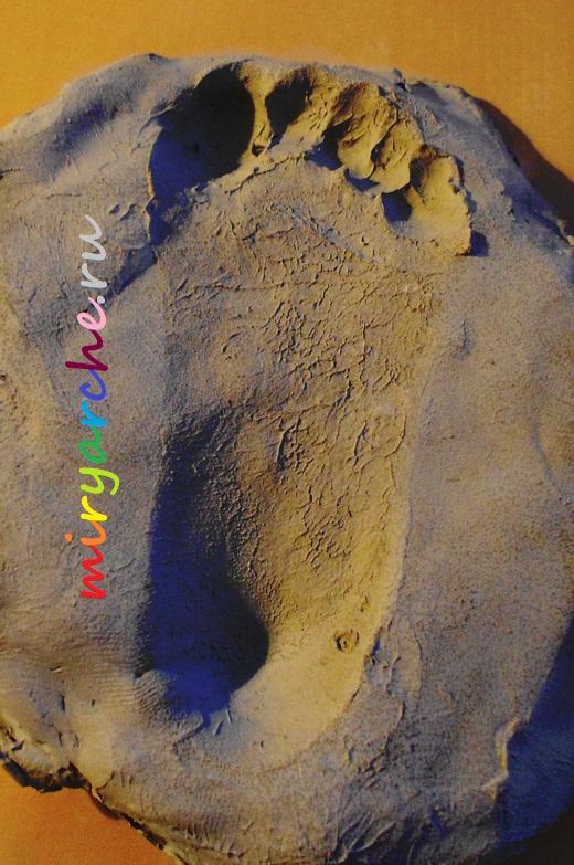 отпечаток ноги ребёнка на глине