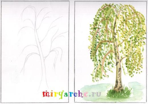 как нарисовать красивое дерево поэтапно