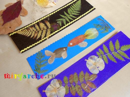 креативные идеи и мастер класс изготовления простых бумажных закладок для книг из картона и сухих листьев