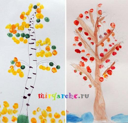 учимся рисовать осенние деревья красками с детьми