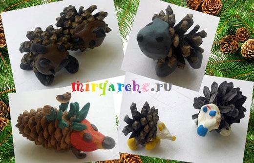 детские осенние поделки из природного материала ёжик из шишек