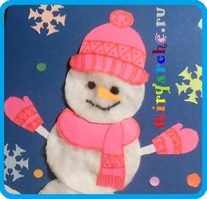 как сделать снеговика из ватных дисков