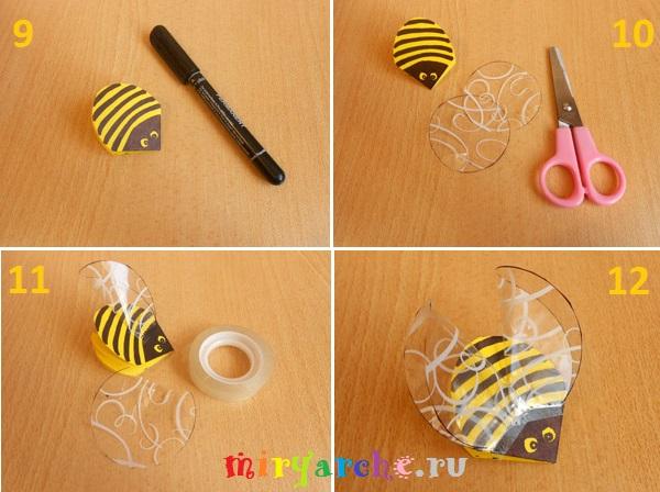 как сделать пчелу осу  из цветной бумаги своими руками