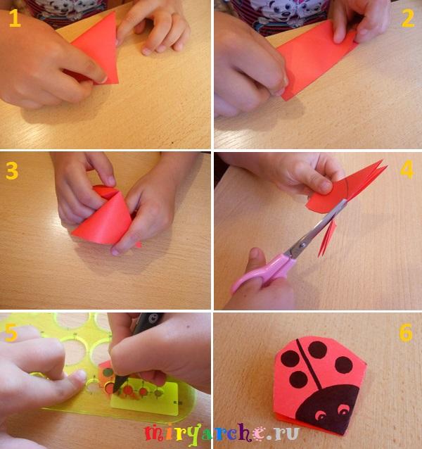 как сделать поделку объемную божью коровку из цветной бумаги своими руками