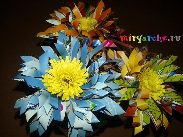цветы из бумаги для начинающих