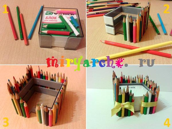 мастер класс как сделать поделки из карандашей