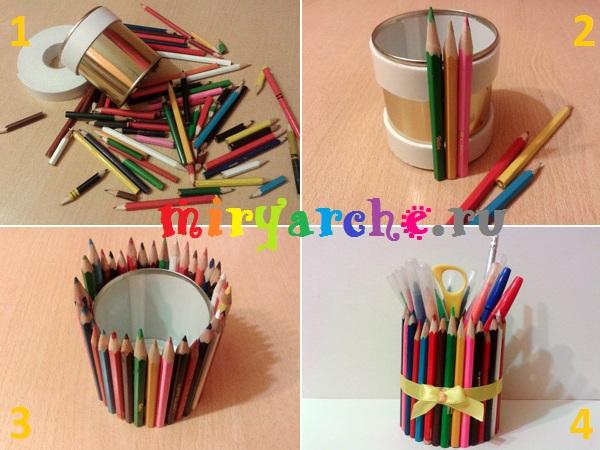 мастер класс как сделать подставку для ручек и карандашей своими руками