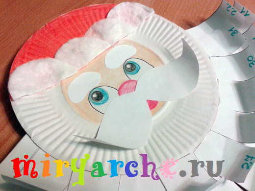 мастер класс аппликация дед мороз на бумажной тарелке