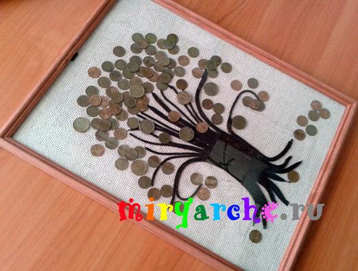 панно из монет денежное дерево своими руками